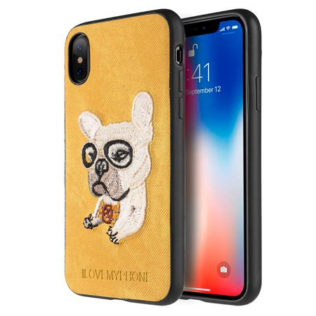 Phone Case For Iphone X With Embroidery Puppies Design French