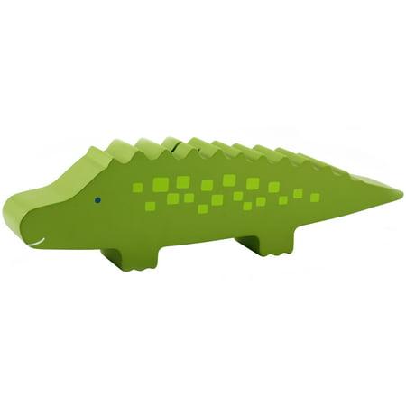 Pearhead Wooden Alligator Piggy Bank, Green (Wooden Piggy Banks)