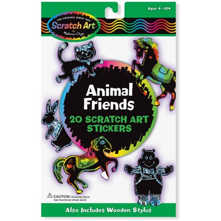 Melissa & Doug Scratch Art Sticker Kit - Animal Friends, 20 Color-Reveal Stickers