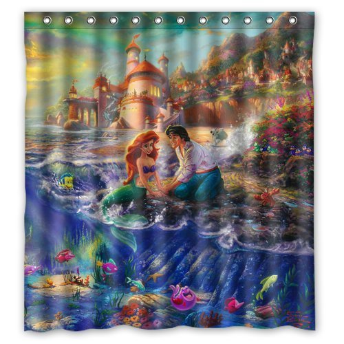 DEYOU The Little Mermaid Ariel Shower Curtain Polyester Fabric Bathroom Shower Curtain Size 66x72 inches