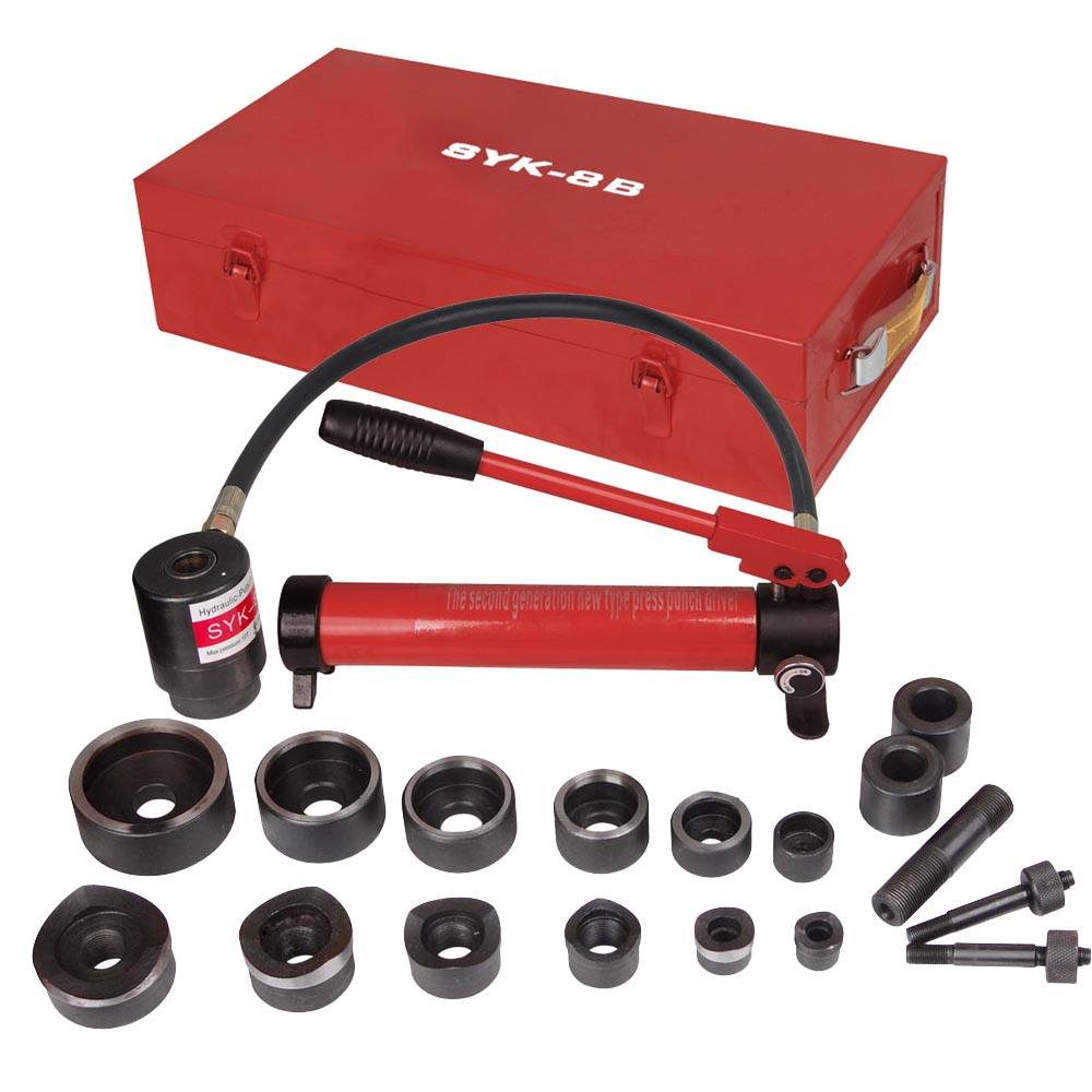Yescom Pneumatic 10 Ton Hydraulic Knockout Punch Hole Driver Kit Complete Tool Set with 6 Dies