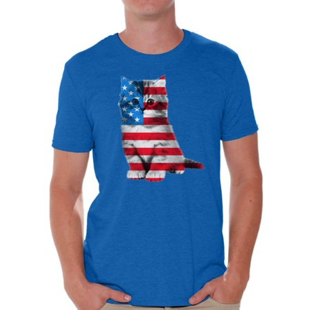 Awkward Styles Cat Shirts Mens USA Flag Patriotic Graphic Tshirt Tops 4th of July Gifts Cute Kitten American Flag T Shirt for Men Independence Day Stars and Stripes Shirts Cat Lover (4th Of July T Shirts To Make)