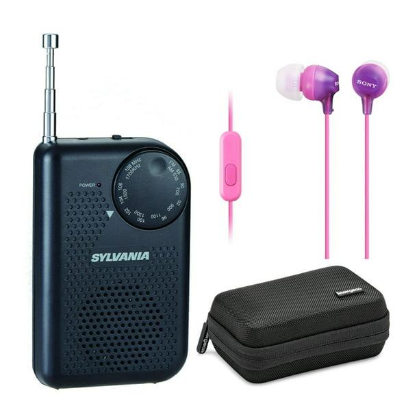 Black Portable AM//FM Pocket Radio With Built-In Speaker
