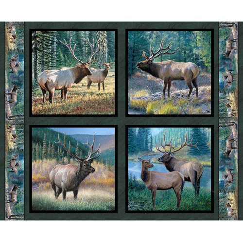 Springs Creative Wild Wings Mountain Sky Elk Pillow Panel Fabric by the Yard