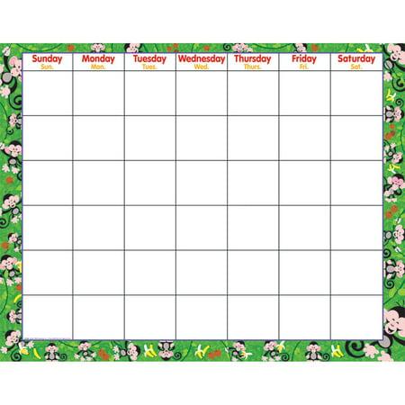 (6 Ea) Monkey Mischief Wipe-Off Monthly Calendar Grid