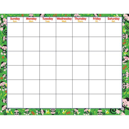Monkeys Calendar - (6 Ea) Monkey Mischief Wipe-Off Monthly Calendar Grid