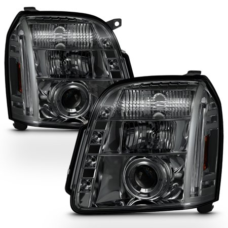 Fits Smoked 07-12 GMC Yukon Denali Halo Projector LED Headlights Lamp - 1995 Gmc Yukon Headlight