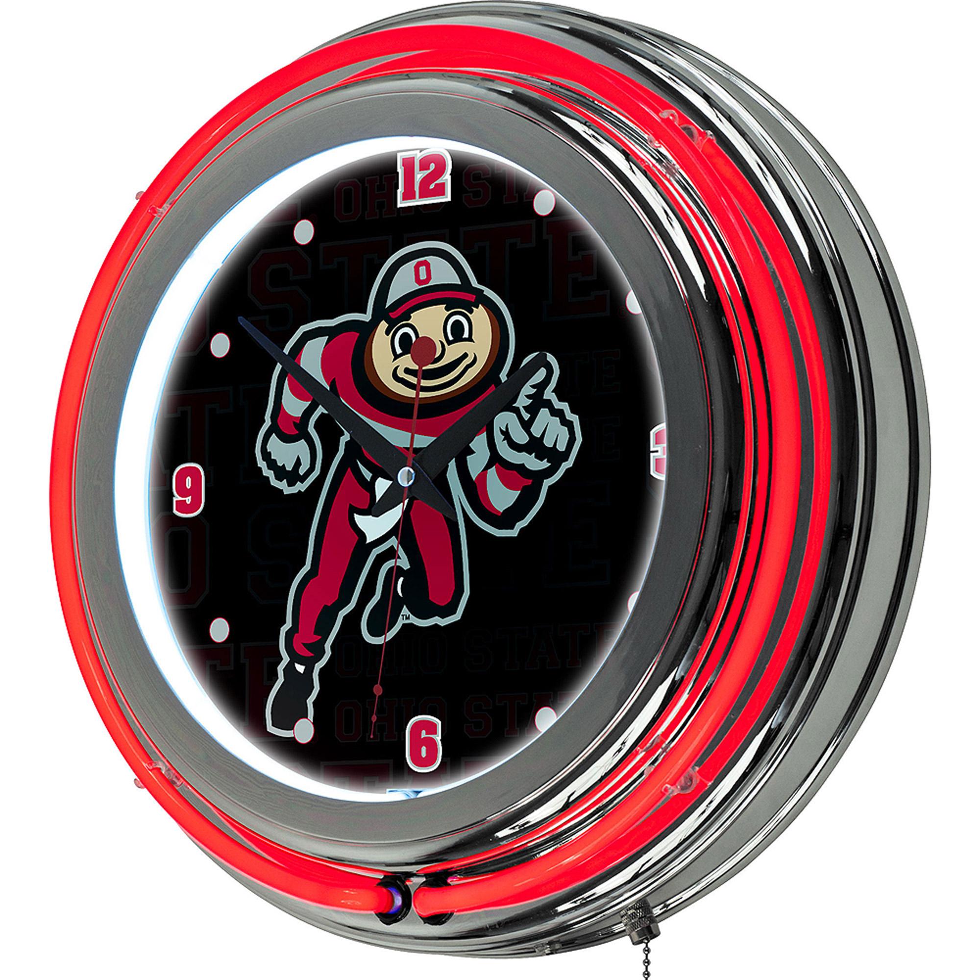 Ohio State Brutus Dash  Chrome Double Ring Neon Clock