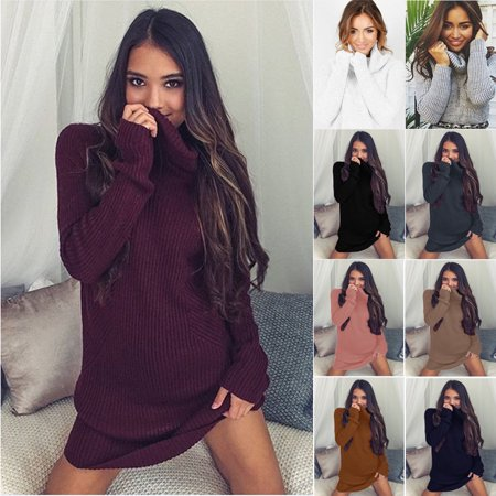 - 2018 Women Dress Autumn Winter Fashion High Collar Plus Size Loose Knitted Dress Casual Long-sleeved Slim Sexy Christmas Sweater Dress