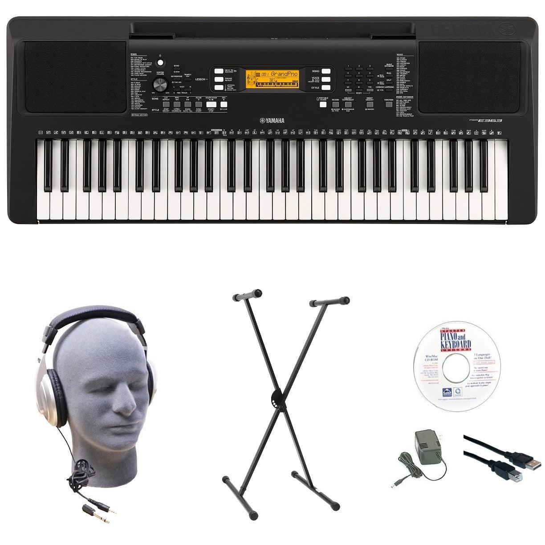Yamaha PSR-E363 EPS 61-Key Premium Lighted Keyboard Pack with Stand, Headphones, Power... by Yamaha