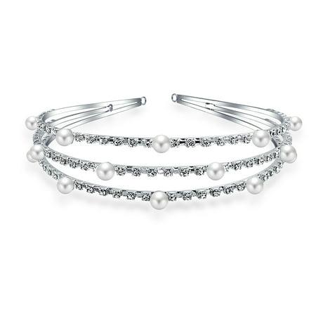 Bling Jewelry Simulated Pearl Rhinestone Bridal Headband Silver Plated