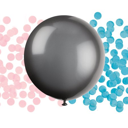 Gender Reveal Box With Balloons (Big Latex Gender Reveal Confetti Balloon, 24 in, Black,)