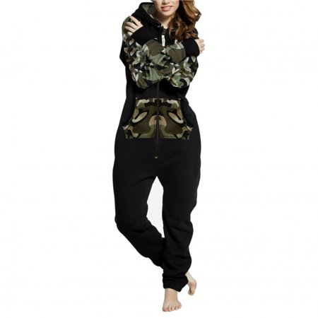1e0e12f3bcde SkylineWears - SkylineWears Womens Fleece Onesie One Piece Pajama Jumpsuit  Black Green-Camo X-Large - Walmart.com