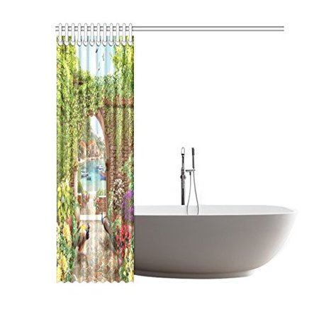 GCKG Summer Peacock Floral Shower Curtain Hooks 60x72 inches Colorful Green Fabric Stone Walkway to the Wea through the Arch with Peacocks Summer Flowers - image 2 de 3