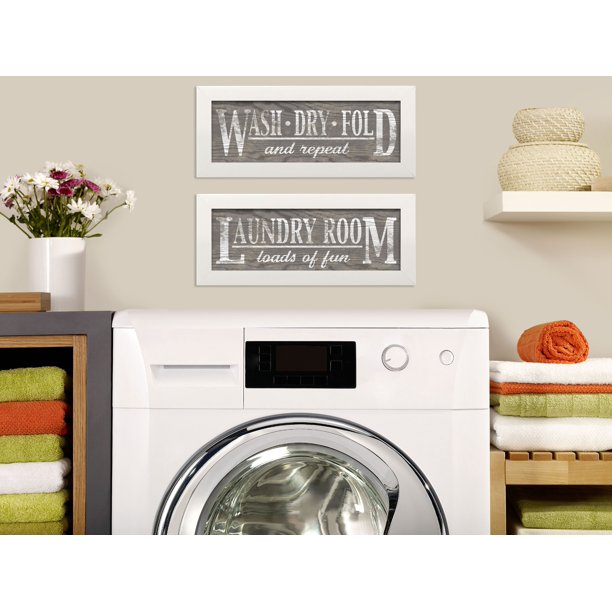Gango Home Decor Classic Gray Laundry Room Wall Art Signs Two Gray 18x6in Art Prints In White Frames Walmart Com Walmart Com