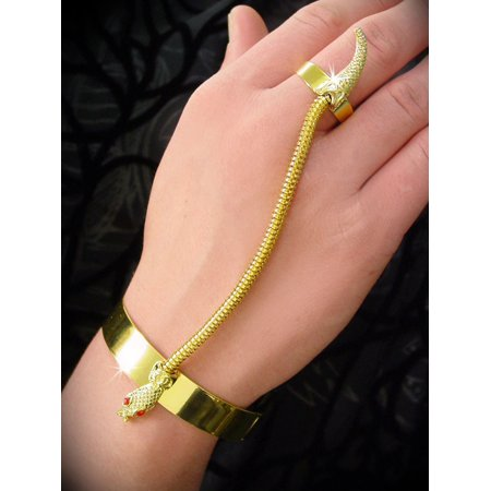 Gold Connected Snake Bracelet and Ring - Gold Snake Arm Cuff