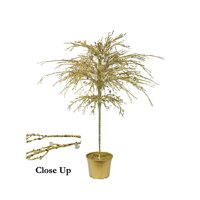 """46"""" Gold Crystallized Glitter Potted Holiday Tree - Mirrors & Beads"""