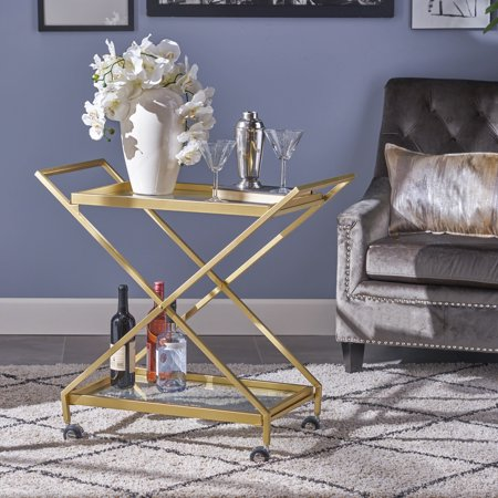 - Noble House Indoor Industrial Iron and Glass Bar Cart, Gold