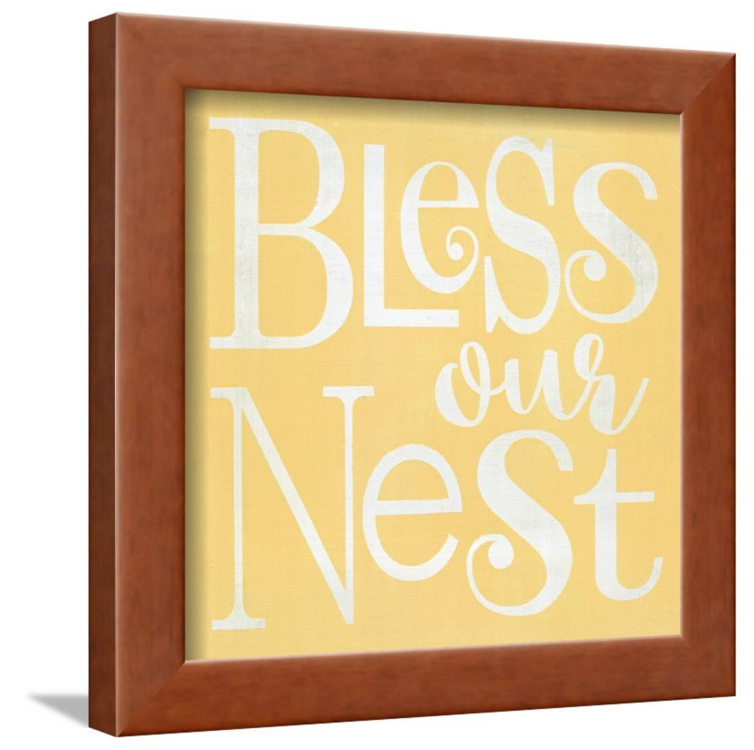 Bless Our Nest Yellow Framed Print Wall Art By Alli Rogosich ...