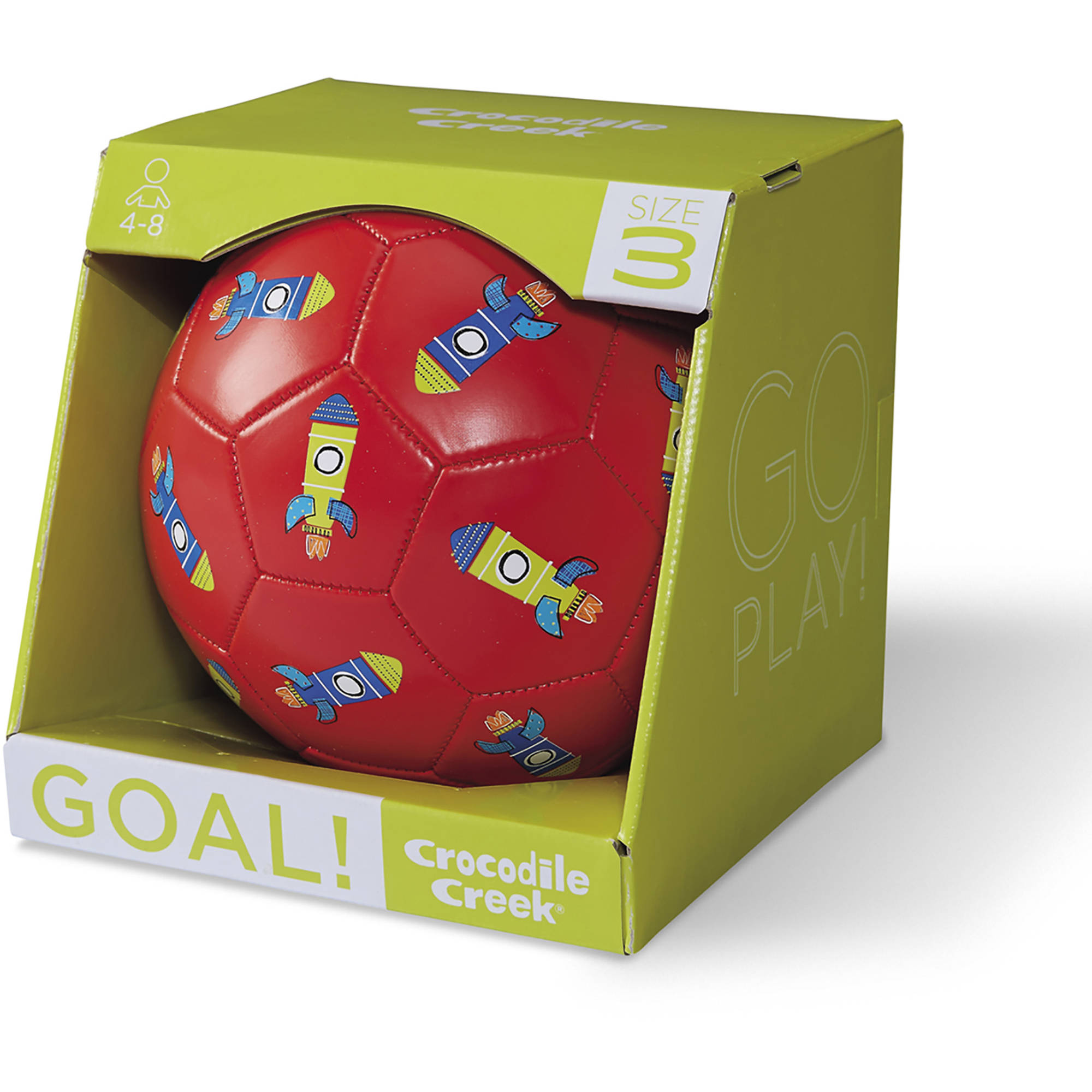 "Crocodile Creek Rockets Kids Boxed Soccer Ball, 7"", Red"