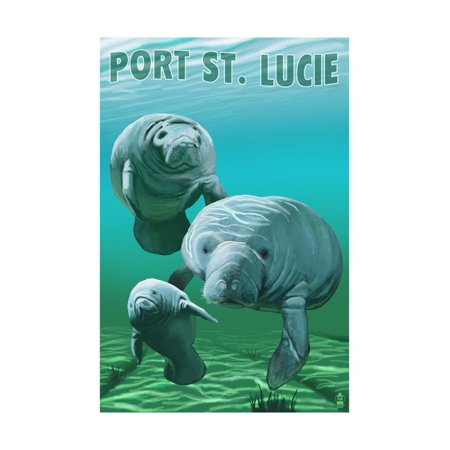 Port St. Lucie, Florida - Manatees Print Wall Art By Lantern Press - City Of Port Saint Lucie