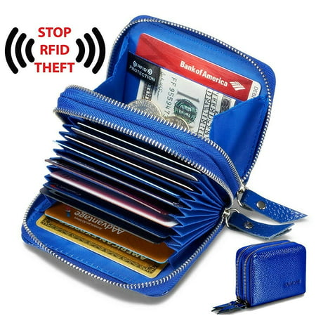 Walltes for women,genuine leather walltes, rfid wallets blue Blue Leather Wallet