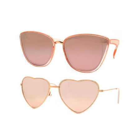 Time and Tru Women's Metal Sunglasses 2-Pack Bundle: Cat-Eye Sunglasses and Heart Sunglasses