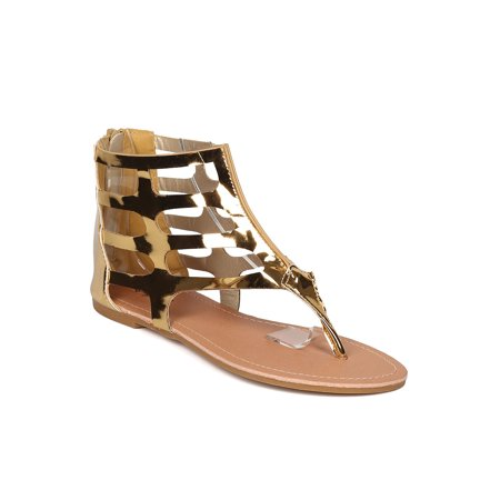 Women Metallic Gladiator Sandal - Casual, Summer, Music Festival - Cutout T-Strap Sandal - GF15 By Qupid