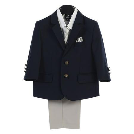 Lito Boys Navy Light Gray Jacket Zipper Tie Shirt Pants 4 Pc Suit