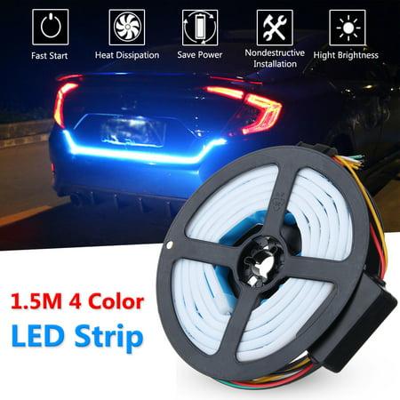 Car LED Strip Rear Trunk Tailgate Light 1.5M 4 Color Brake Turn Signal Light Flow Type