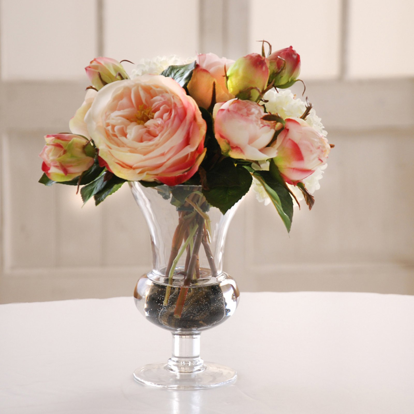 Jane Seymour White Roses 11H in. Silk Flower Arrangement