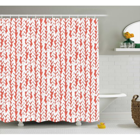 Coral Shower Curtain Hand Painted Braids Vertical Pattern Bohemian Hipster Fashion Chevron Ethnic Artwork
