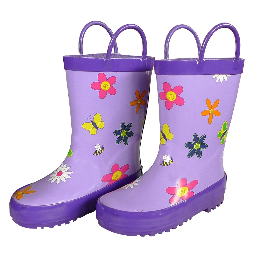 Foxfire Girls Purple Floral Butterfly Print Rubber Boots 11-3 Kids