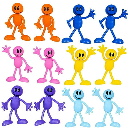 Bendable Smiley Figures – Happy Faces – 12 Pack Assorted Colors -Bendable Toys & Games, Action & Toy Figures, Party Favors And Novelty's – By