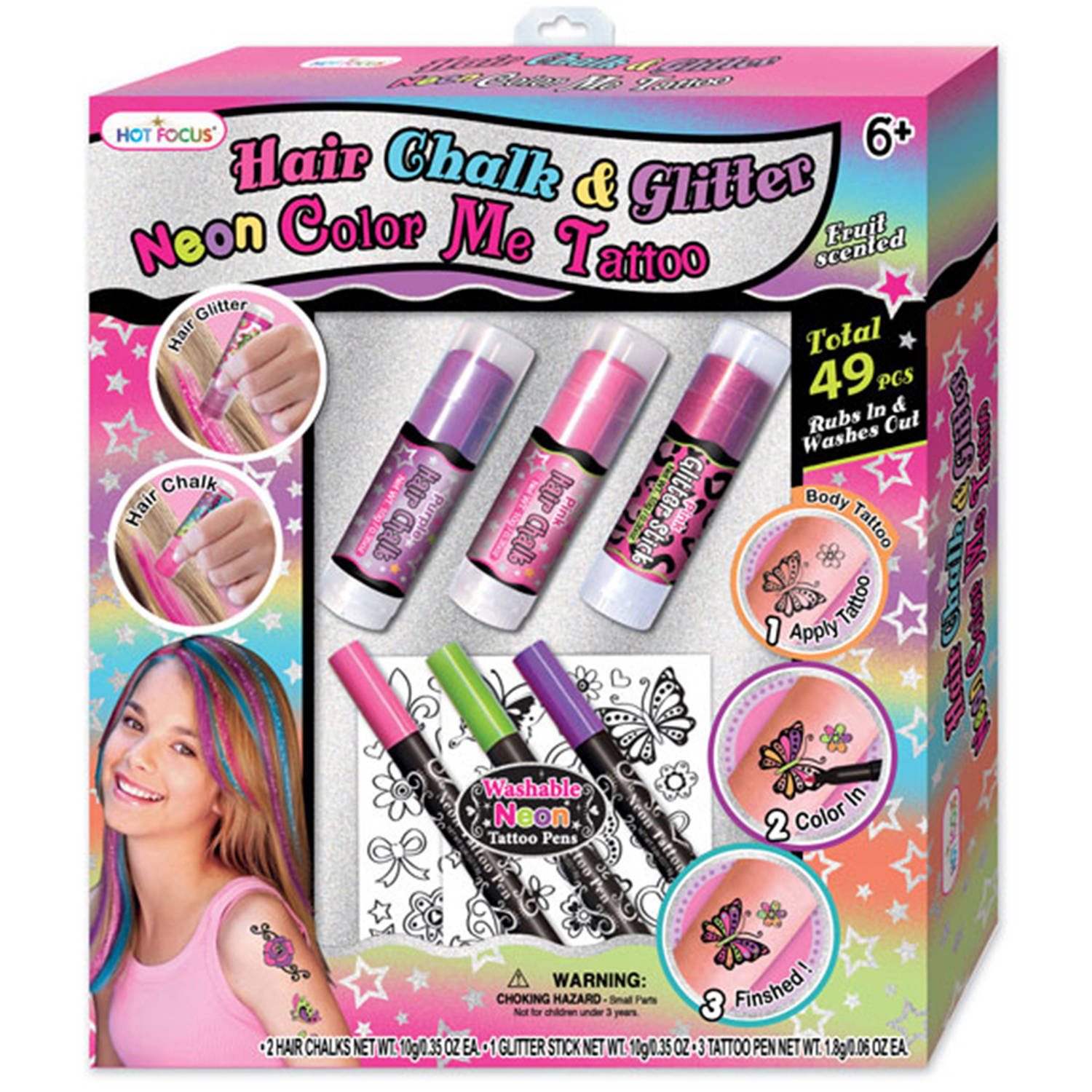 Focus Hair Chalk and Glitter Neon Color Me Tattoo Gift Set