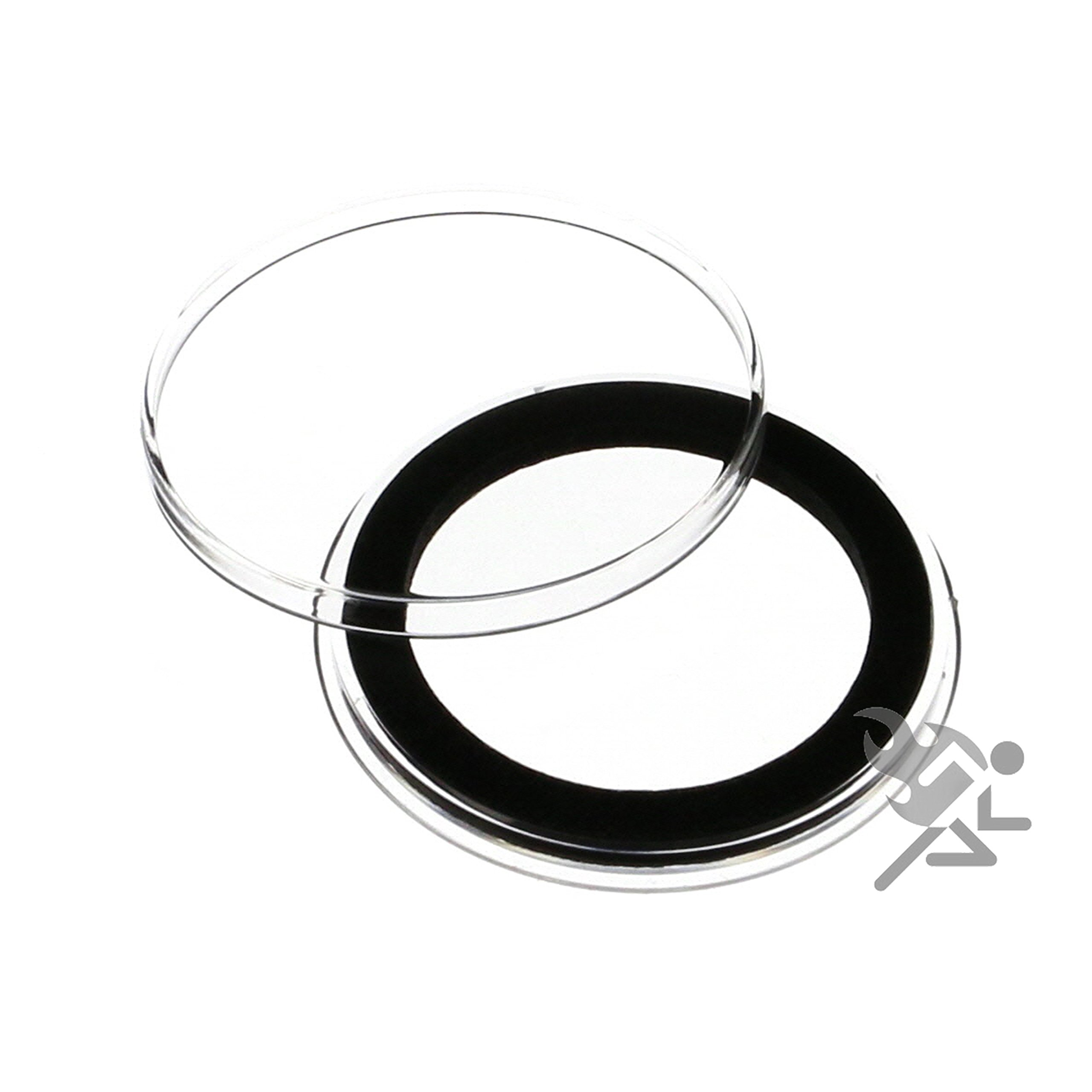 15 Air-tite X44mm Black Ring Ring Coin Holder Capsules for 1.75 Military Challenge Coin and 1oz Silver Lunar Series 2