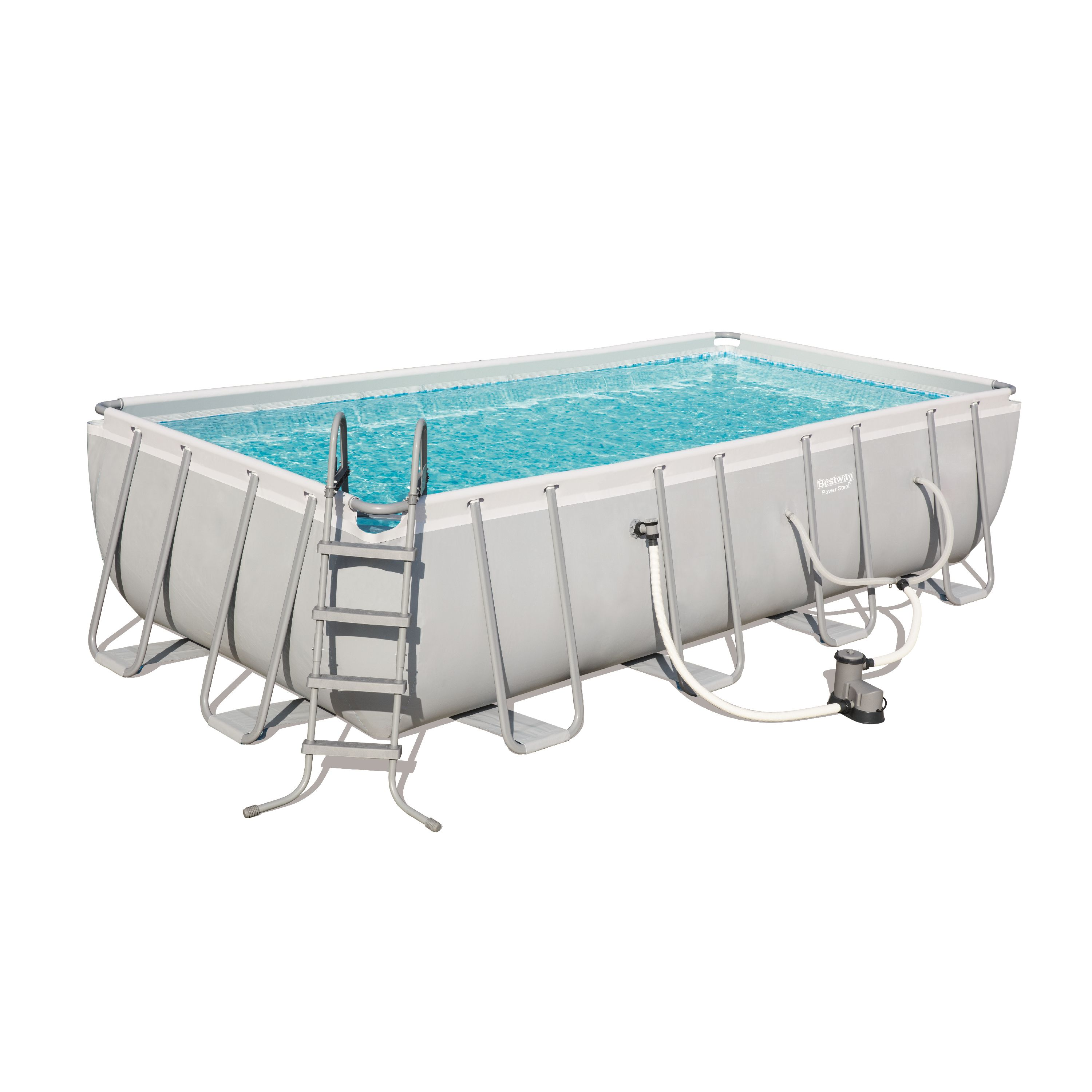 """Bestway Power Steel 18' x 9' x 48"""" Rectangular Frame Swimming Pool Set with Pump, Ladder and Cover"""
