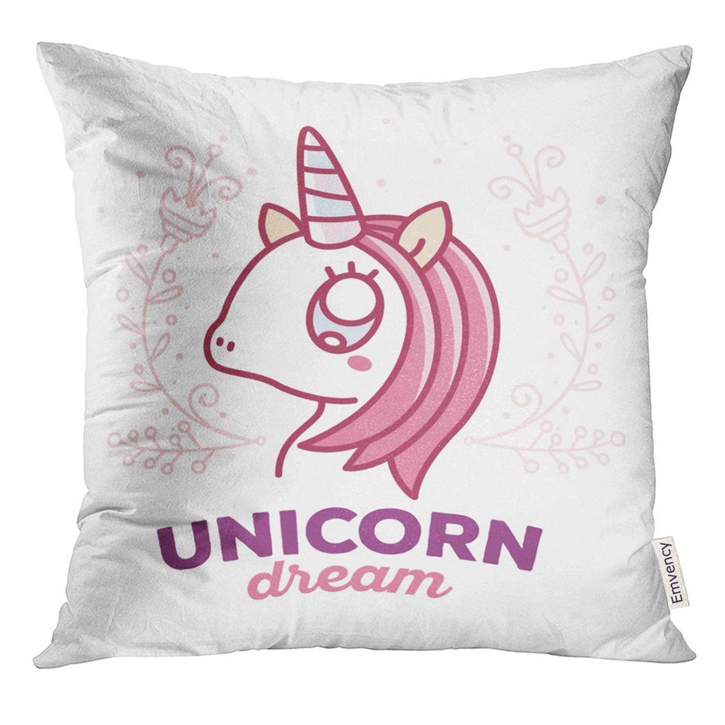 ARHOME Cute Magic Unicorn Head with Horn Pink Mane Flowers and Words Dream Thin Flat Line Design to Make Pillow Case 18x18 Inches Pillowcase