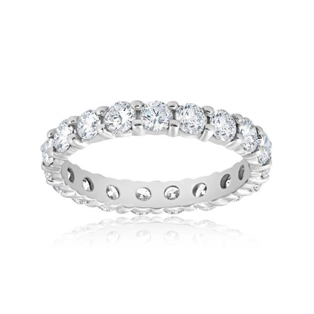 Stackable Wedding Bands.Diamond Eternity Ring 2 Carat Womens Stackable Wedding Band 14k White Gold