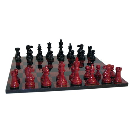 Black And Red Boxwood Clic Chess Set In Glossy Finish On Burlwood Veneer Board