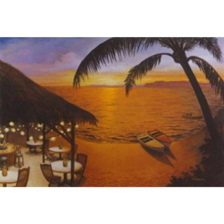 Tahitian Sunset By David Morracco 24X36 Art Print Poster Tropical Paradise Ocean Beach Restaurant Sunset