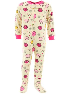 dd4c21eb Product Image Mon Petit Girls Pale Yellow Cat Footed Pajamas