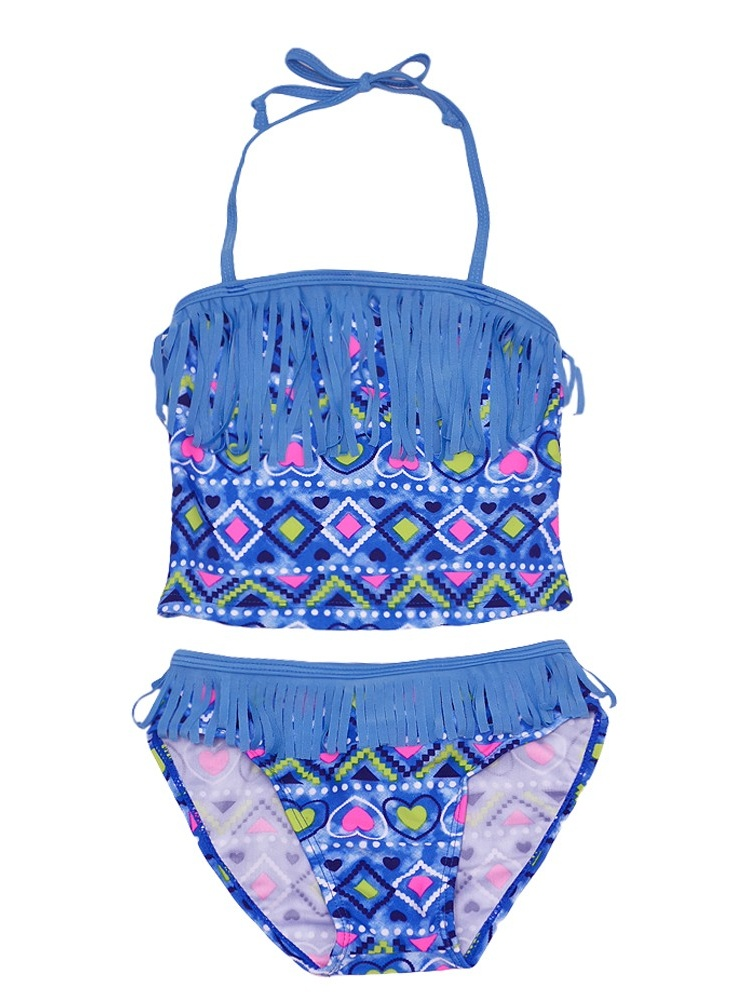 Real Love Little Girls Blue Geometric Fringed 2 Pc Tankini Swimsuit