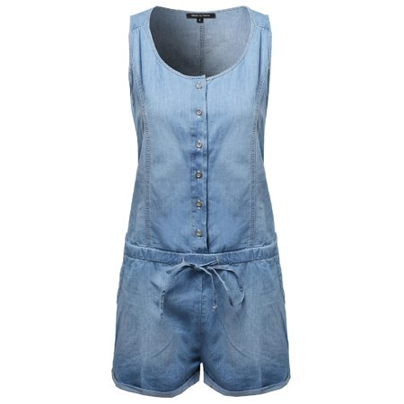 6e8af1f7fba FashionOutfit - FashionOutfit Women s Classic Basic Denim Sleeveless Romper  With Adjustable Waist - Walmart.com
