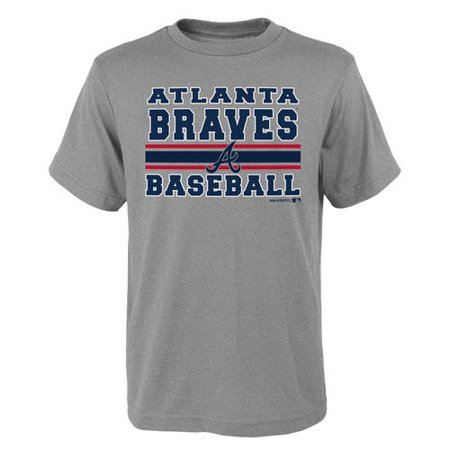 MLB Atlanta Braves TEE Short Sleeve Boys OPP 90% Cotton 10% Polyester Gray Team Tee 4-18