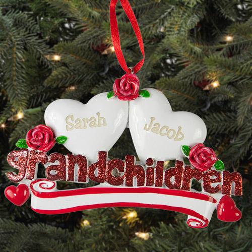 Personalized Grandchildren Christmas Ornament, 2 Hearts