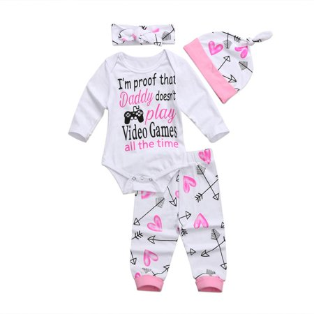 Newborn Toddler Baby Girls Clothes Romper Jumpsuit Bodysuit+Pants Outfits Set](50 Outfits)