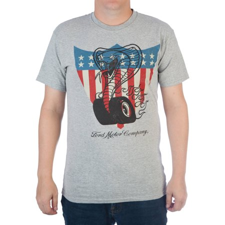 Big Mens Ford Motors Cobra And Americana Shield Cotton Graphic Tee
