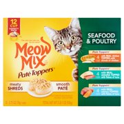 Meow Mix Pate Toppers Seafood & Poultry Wet Cat Food Variety Pack 2.75 oz, 12 ct