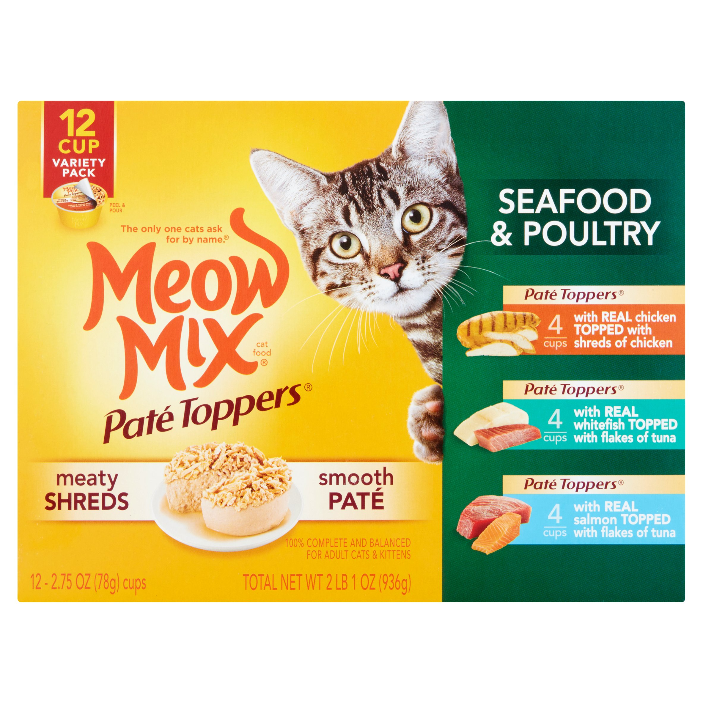 Meow Mix Paté Toppers Seafood & Poultry Wet Cat Food Variety Pack- (12) 2.75-oz Cups
